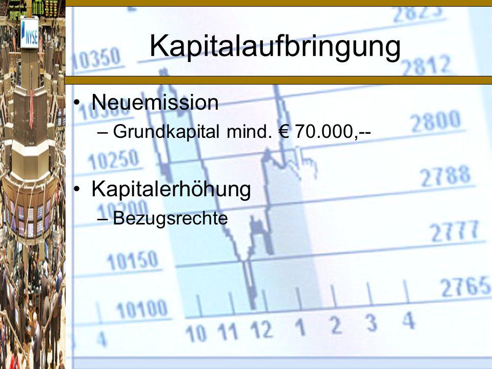 Kapitalaufbringung Neuemission Kapitalerhöhung