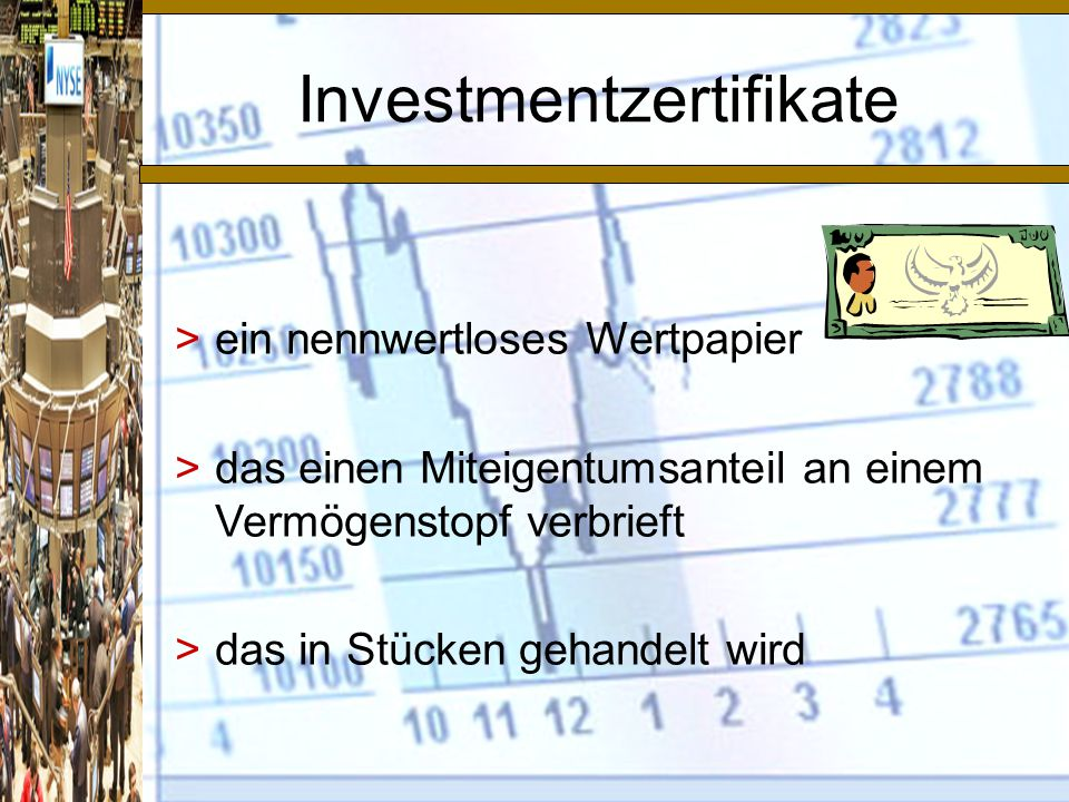 Investmentzertifikate