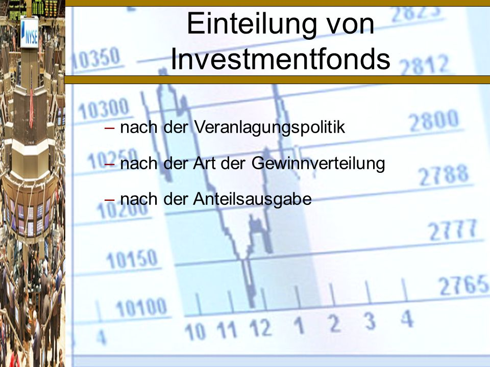 Einteilung von Investmentfonds