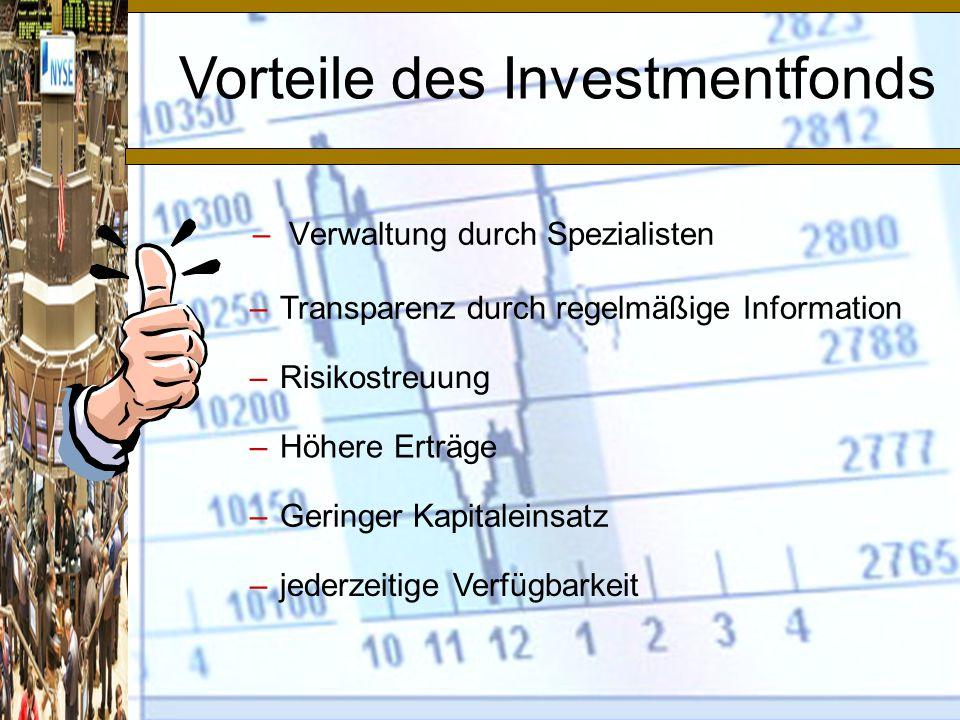 Vorteile des Investmentfonds