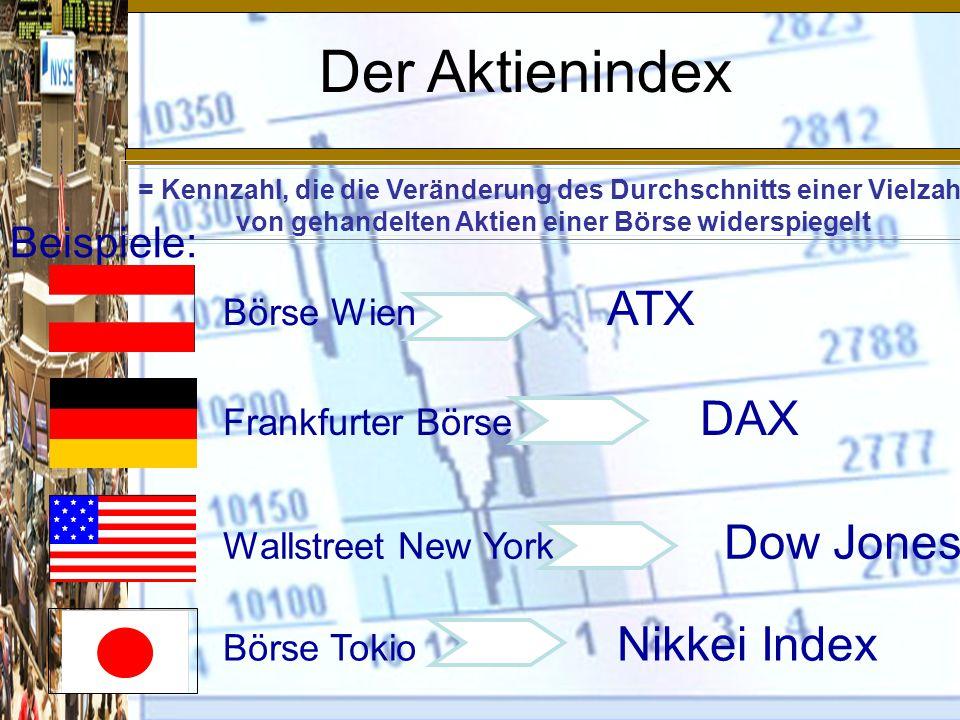 Der Aktienindex Beispiele: Börse Wien ATX Frankfurter Börse DAX