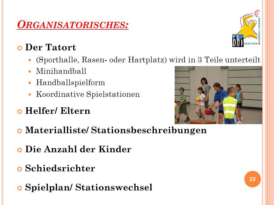 Organisatorisches: Der Tatort Helfer/ Eltern