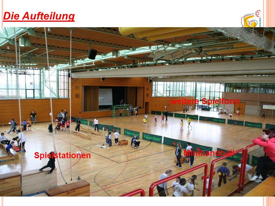 Die Aufteilung weitere Spielform Minihandball Spielstationen