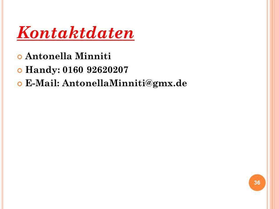 Kontaktdaten Antonella Minniti Handy: 0160 92620207