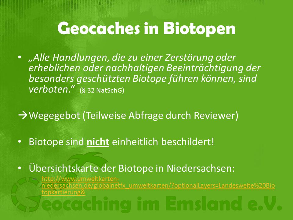 Geocaches in Biotopen