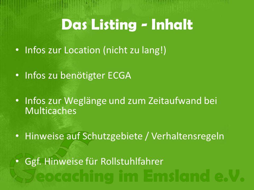 Das Listing - Inhalt Infos zur Location (nicht zu lang!)