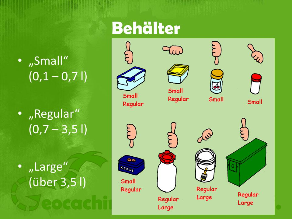 "Behälter ""Small (0,1 – 0,7 l) ""Regular (0,7 – 3,5 l)"