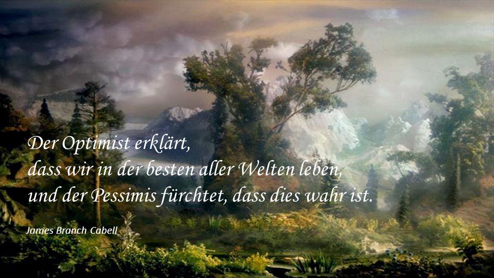 Der Optimist erklärt, dass wir in der besten aller Welten leben, und der Pessimis fürchtet, dass dies wahr ist.