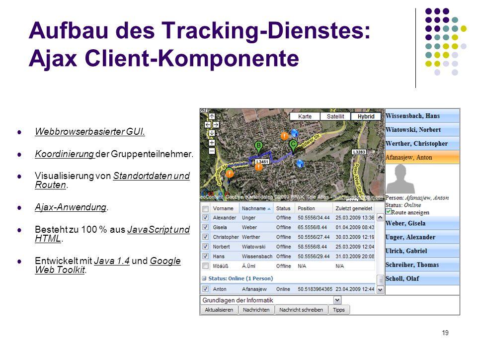 Aufbau des Tracking-Dienstes: Ajax Client-Komponente