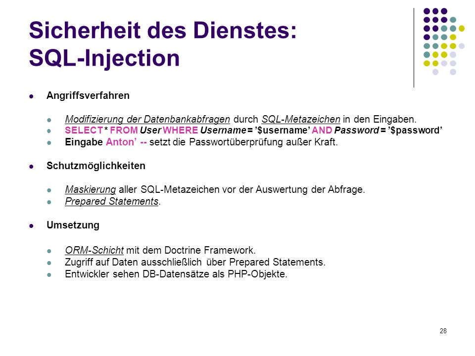 Sicherheit des Dienstes: SQL-Injection