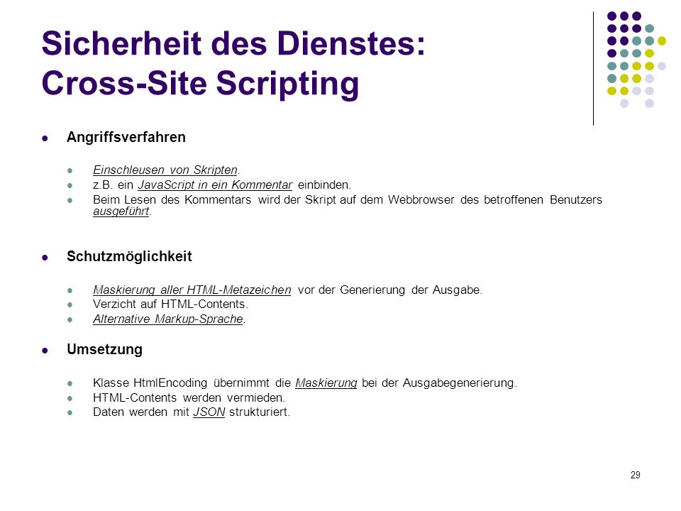 Sicherheit des Dienstes: Cross-Site Scripting