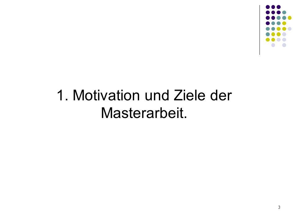 1. Motivation und Ziele der Masterarbeit.