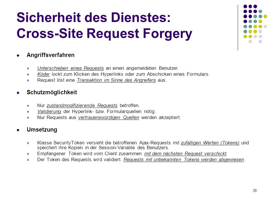Sicherheit des Dienstes: Cross-Site Request Forgery