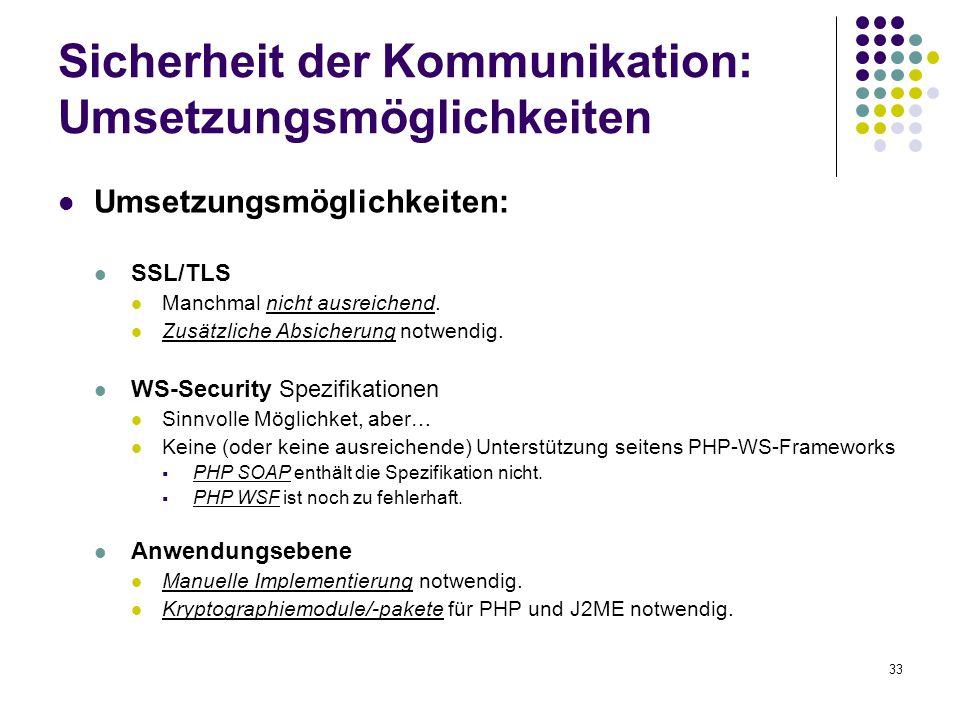 Sicherheit der Kommunikation: Umsetzungsmöglichkeiten