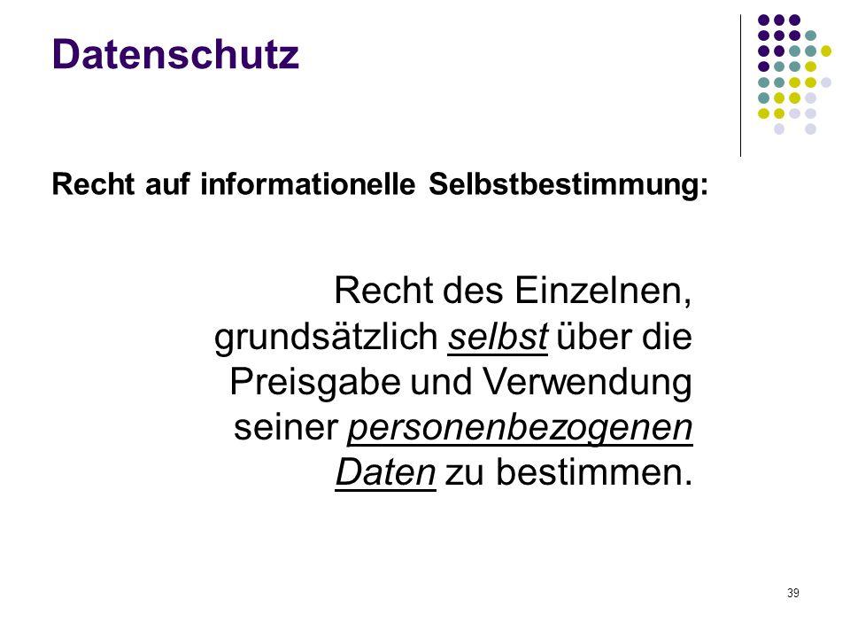 Datenschutz Recht auf informationelle Selbstbestimmung: