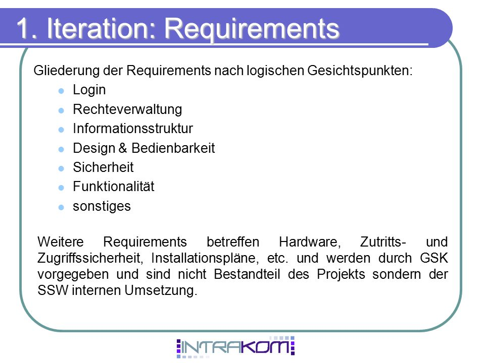 1. Iteration: Requirements