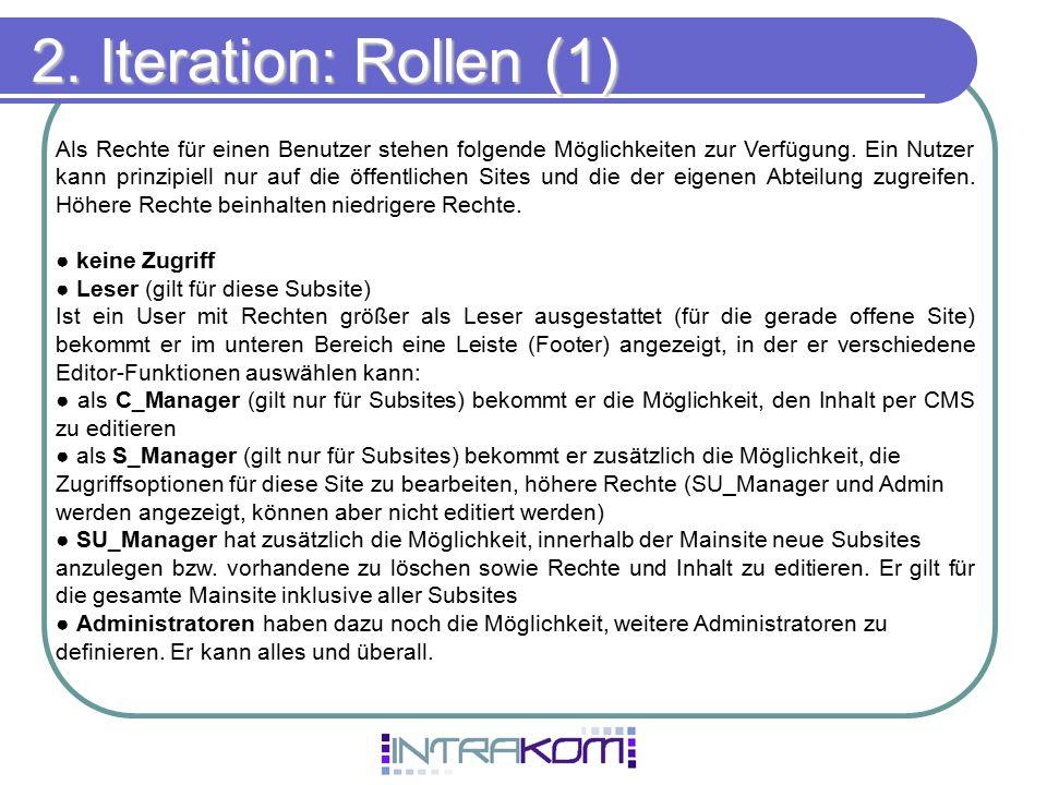 2. Iteration: Rollen (1)