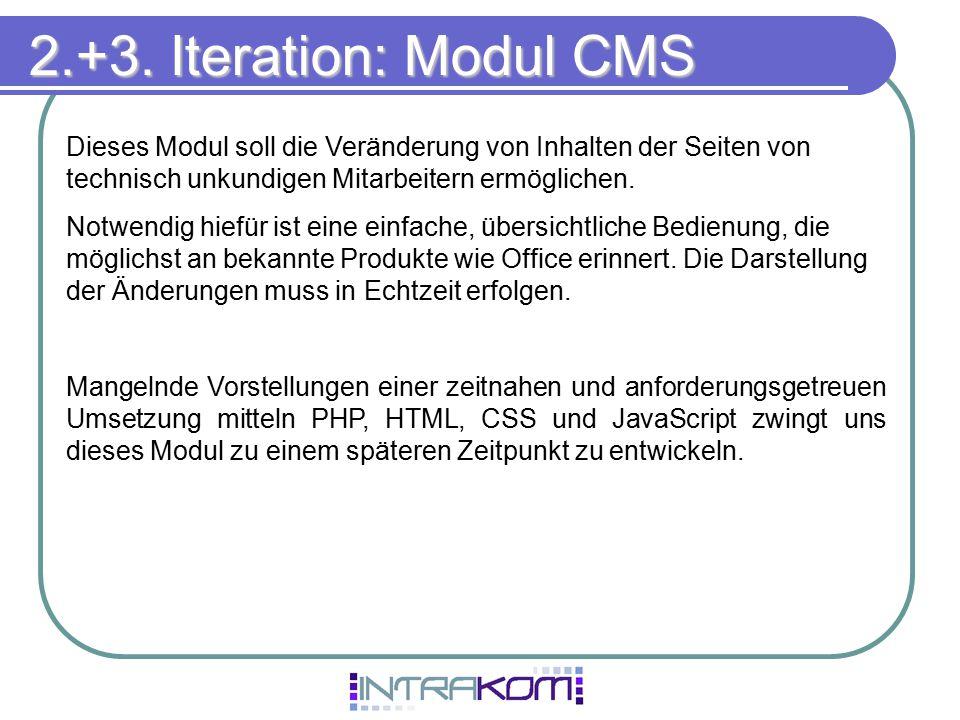 2.+3. Iteration: Modul CMS Dieses Modul soll die Veränderung von Inhalten der Seiten von technisch unkundigen Mitarbeitern ermöglichen.