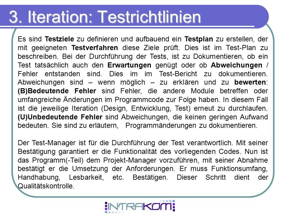 3. Iteration: Testrichtlinien