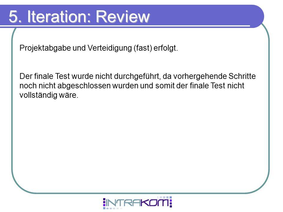 5. Iteration: Review Projektabgabe und Verteidigung (fast) erfolgt.