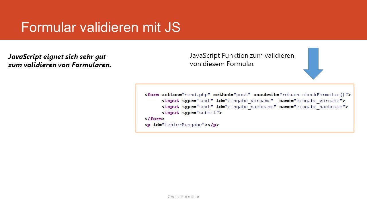 Formular validieren mit JS