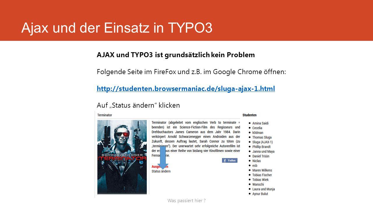Ajax und der Einsatz in TYPO3