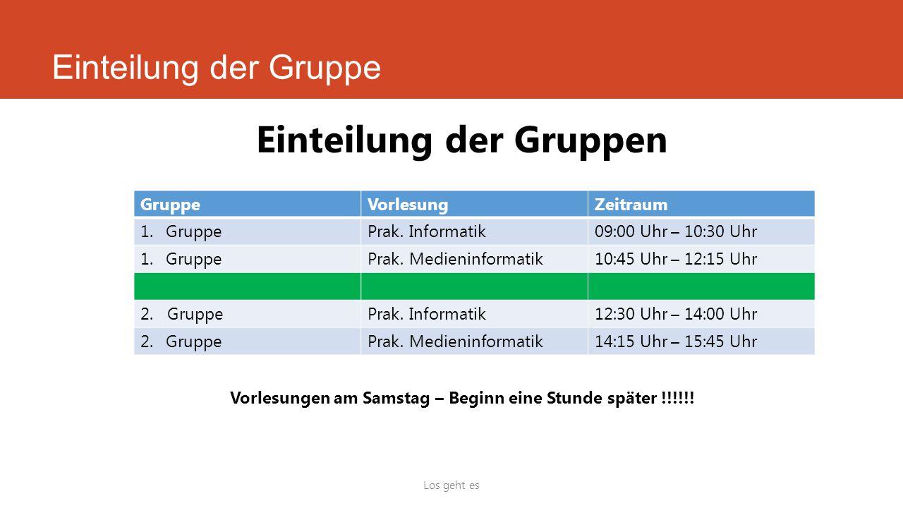 Vorlesungen am Samstag – Beginn eine Stunde später !!!!!!