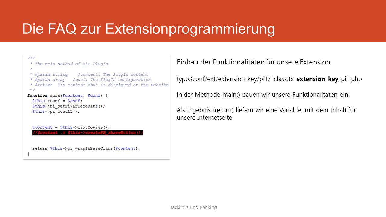 Die FAQ zur Extensionprogrammierung