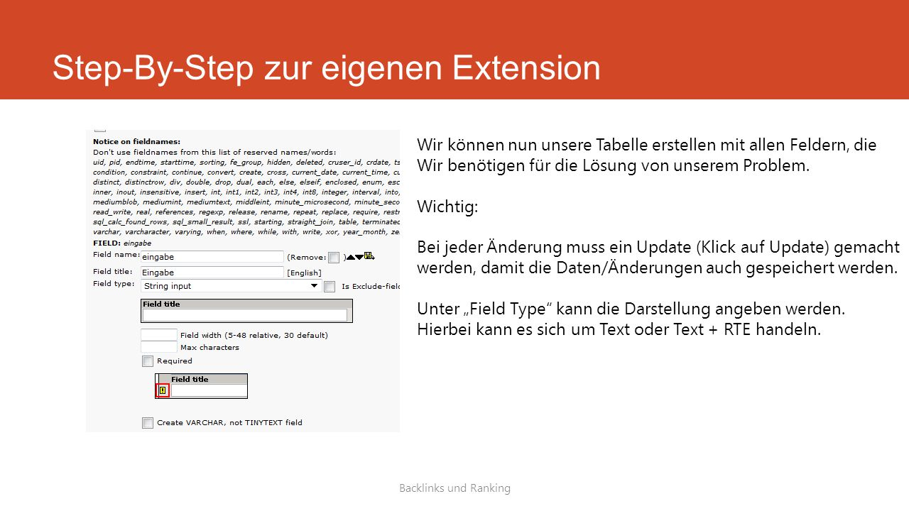 Step-By-Step zur eigenen Extension