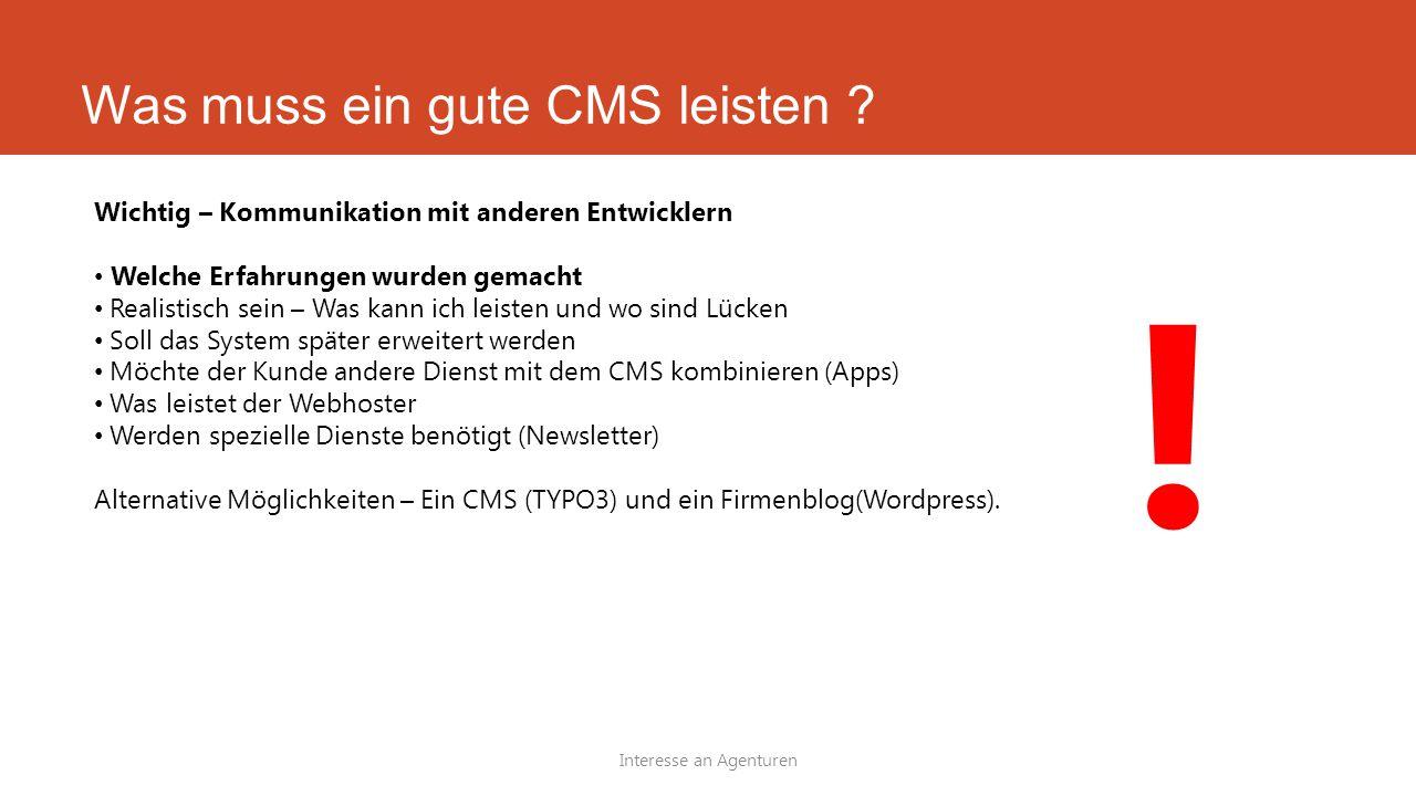 Was muss ein gute CMS leisten