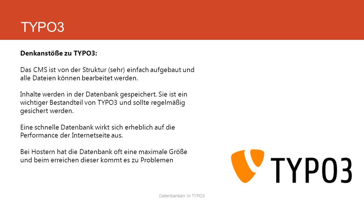 TYPO3 Denkanstöße zu TYPO3: