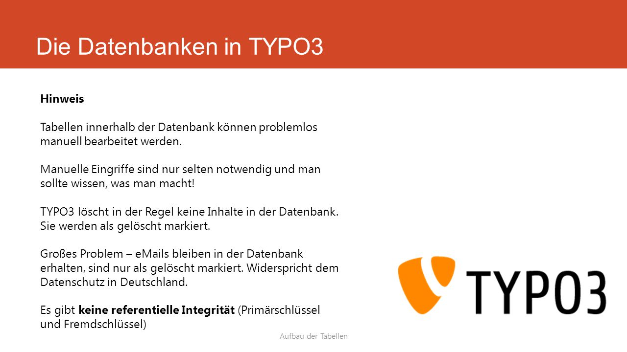 Die Datenbanken in TYPO3