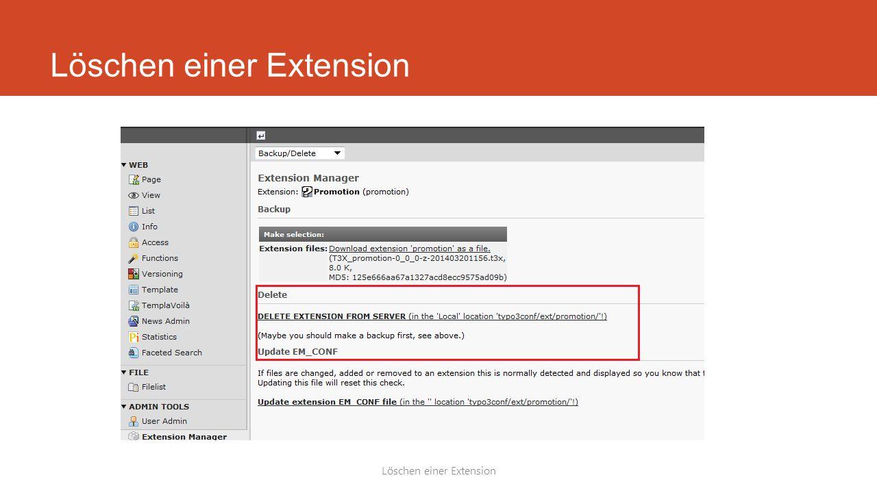 Löschen einer Extension