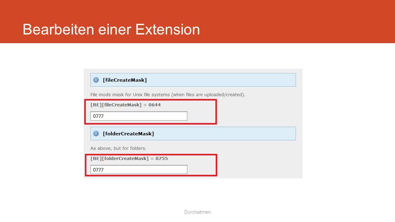 Bearbeiten einer Extension