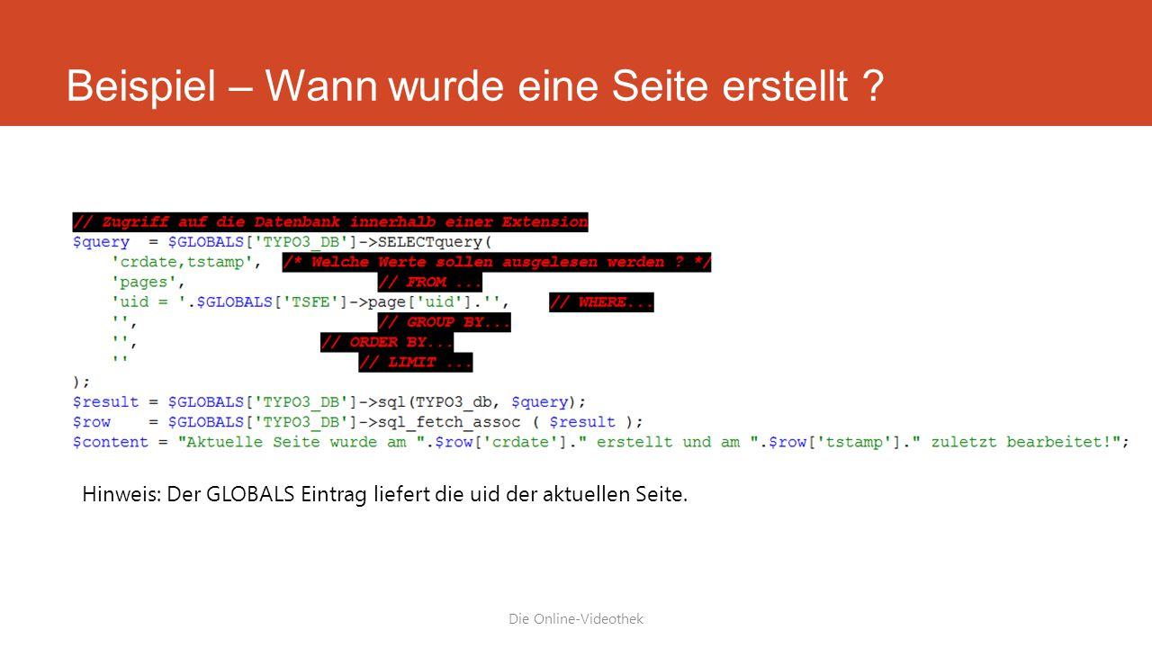 Beispiel – Wann wurde eine Seite erstellt