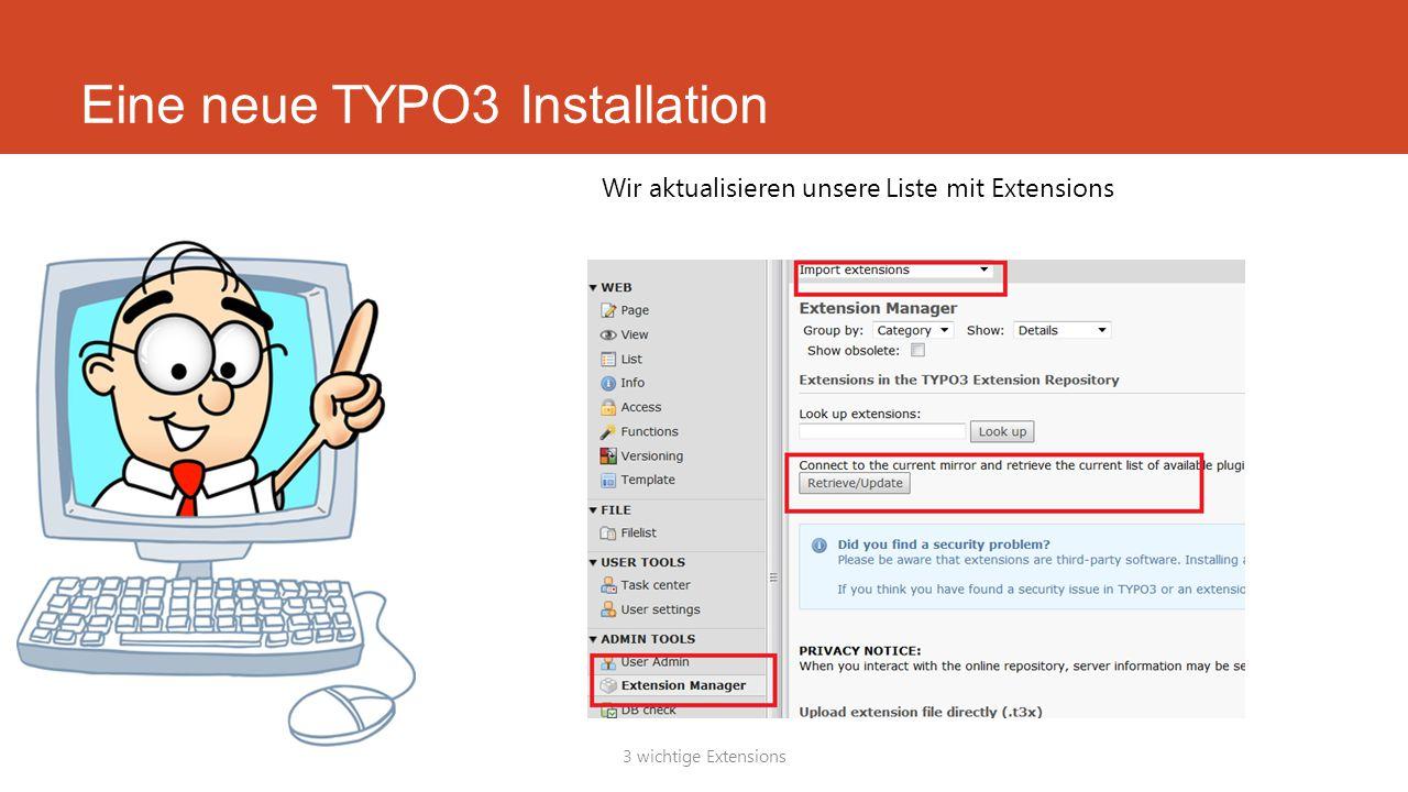 Eine neue TYPO3 Installation