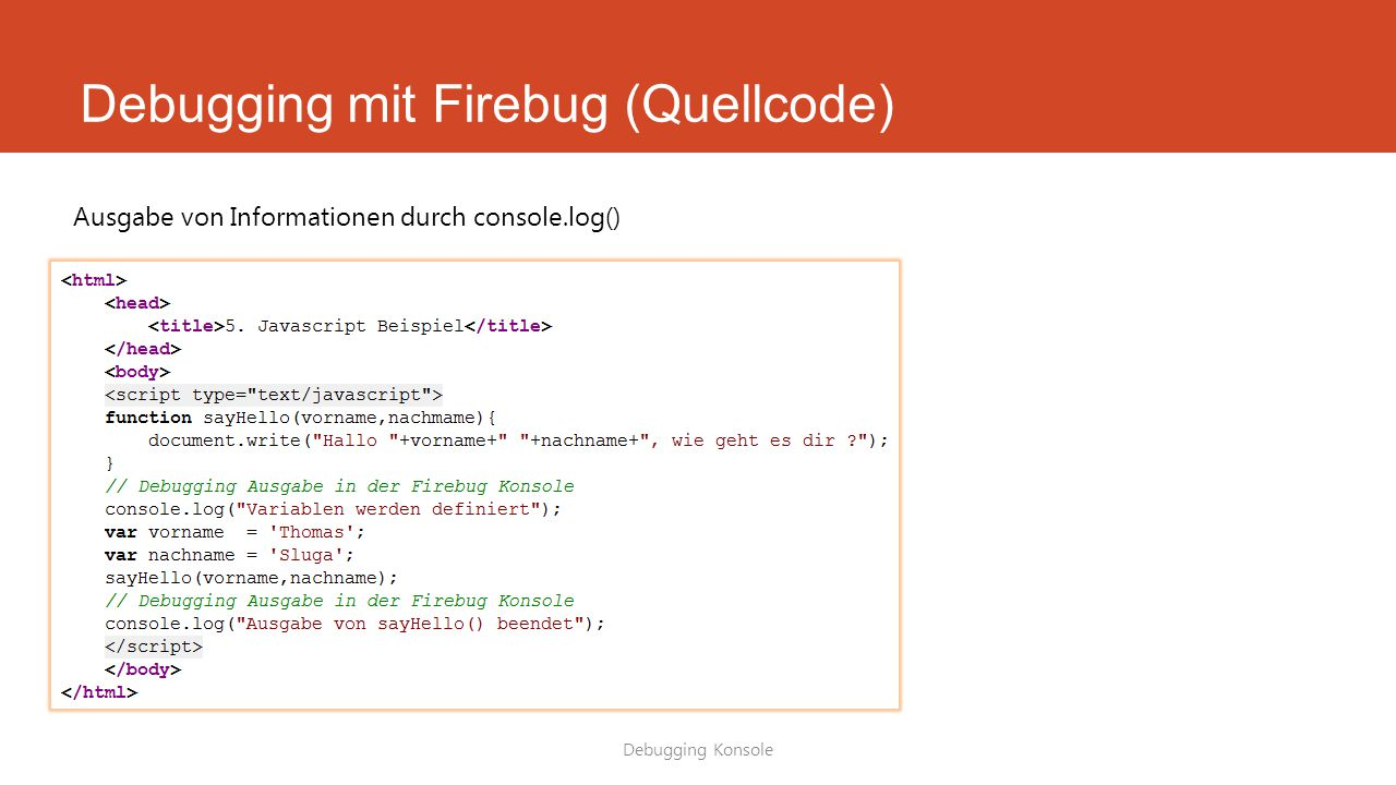 Debugging mit Firebug (Quellcode)