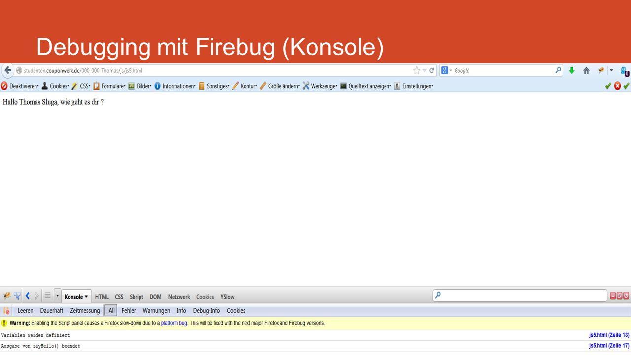 Debugging mit Firebug (Konsole)