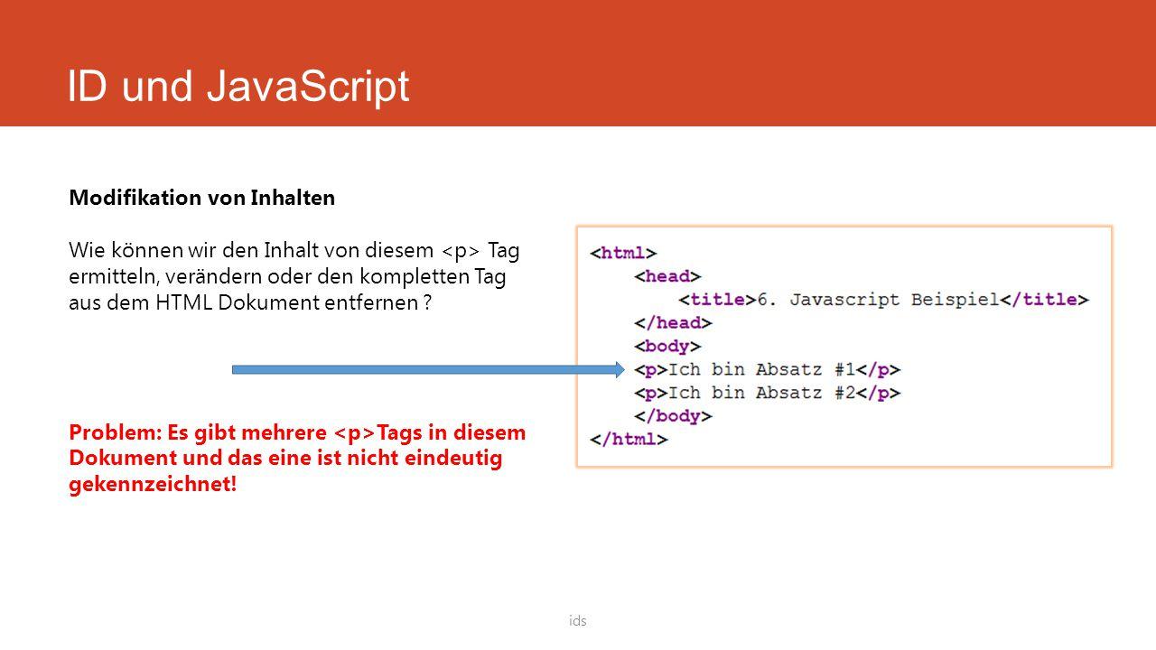 ID und JavaScript Modifikation von Inhalten