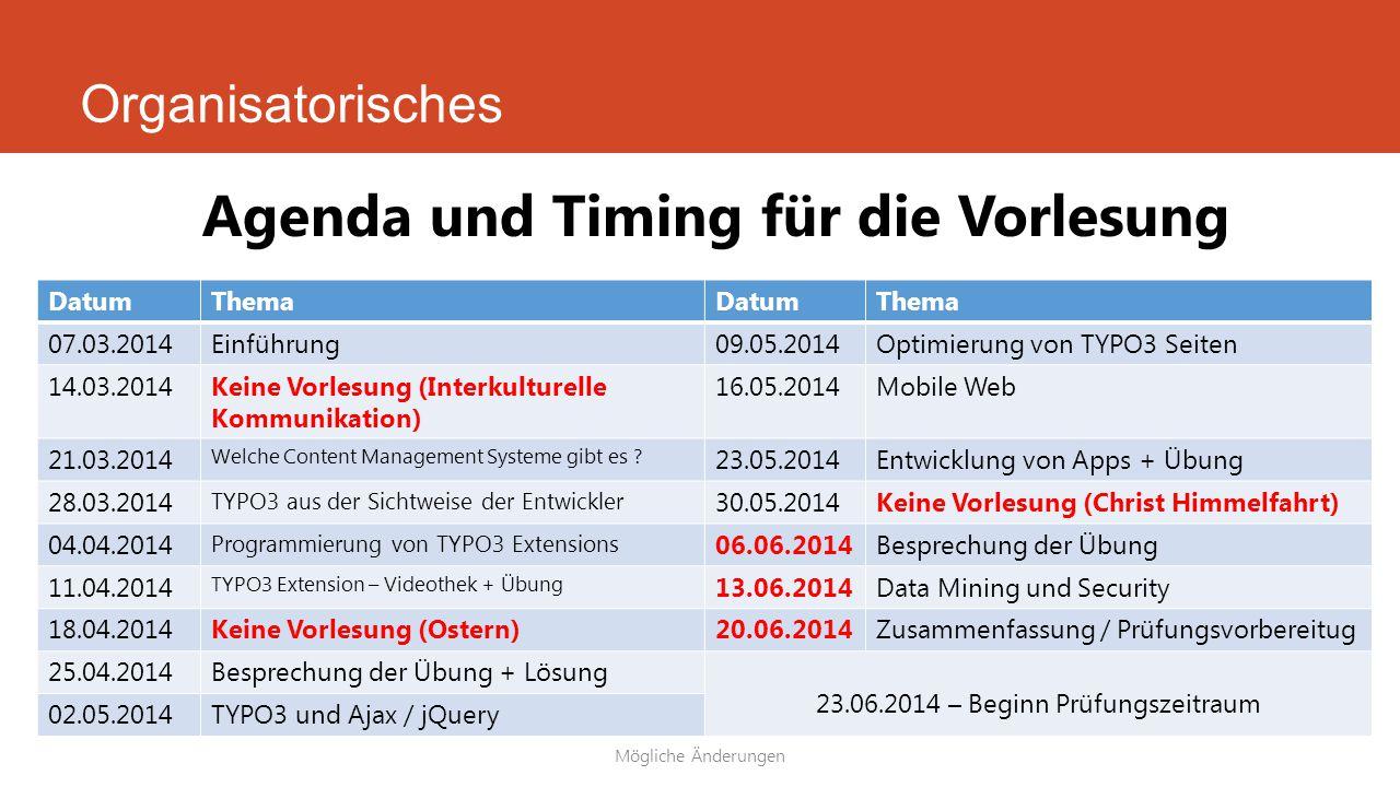 Agenda und Timing für die Vorlesung