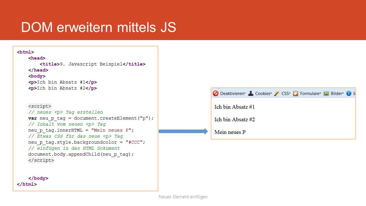 DOM erweitern mittels JS