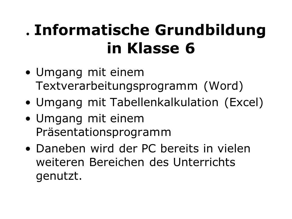 . Informatische Grundbildung in Klasse 6