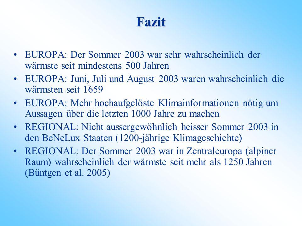 Fazit EUROPA: Der Sommer 2003 war sehr wahrscheinlich der wärmste seit mindestens 500 Jahren.