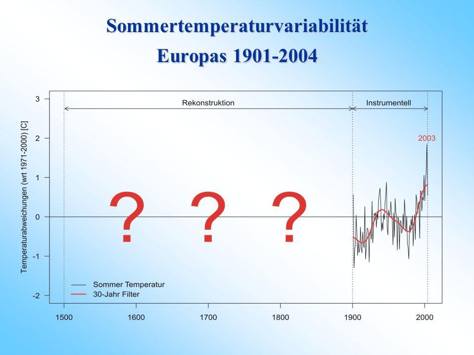 Sommertemperaturvariabilität Europas 1901-2004
