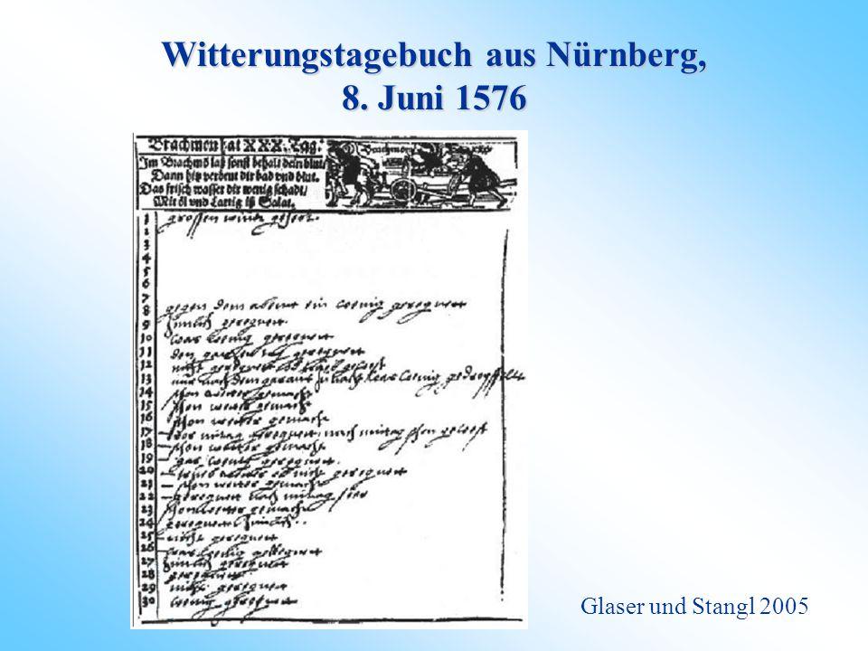 Witterungstagebuch aus Nürnberg, 8. Juni 1576