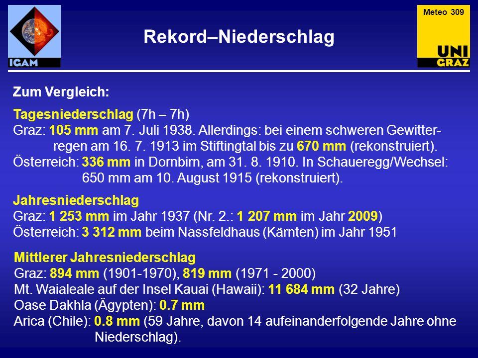 Rekord–Niederschlag Zum Vergleich: Tagesniederschlag (7h – 7h)