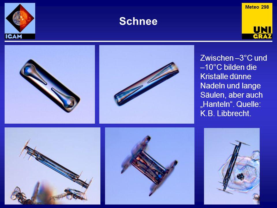 Meteo 298 Schnee. Zwischen –3°C und –10°C bilden die Kristalle dünne Nadeln und lange Säulen, aber auch.