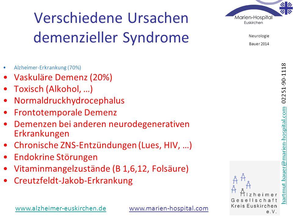 Verschiedene Ursachen demenzieller Syndrome