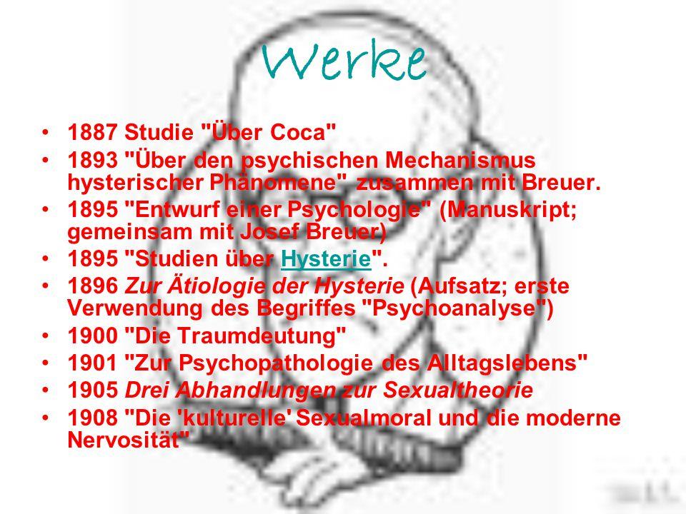 Werke 1887 Studie Über Coca 1893 Über den psychischen Mechanismus hysterischer Phänomene zusammen mit Breuer.