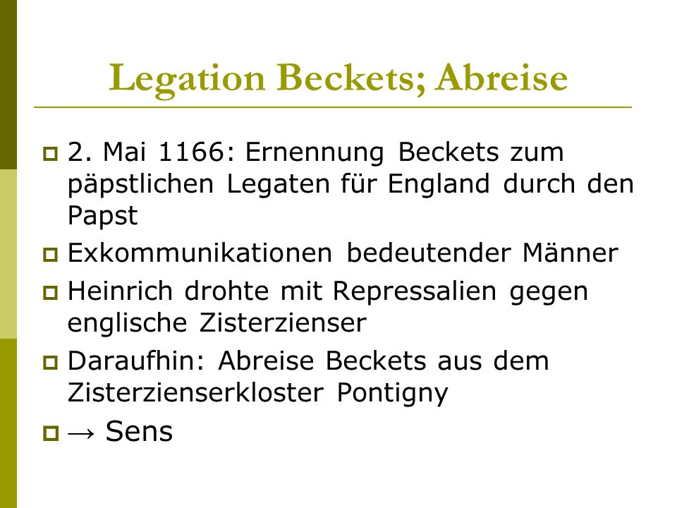Legation Beckets; Abreise